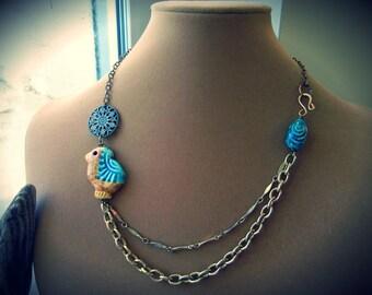 Bird necklace, Ceramic pendant with Brass-tone chain - Henna Chick