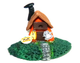 Halloween decor polymer clay  haunted house Whimsy  OOAK