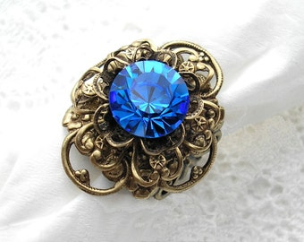Murmuring Stream Sapphire Glass Jewel Ring Antiqued Brass Ring