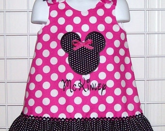 Hot Pink Dot Minnie Mouse Applique Monogram Dress with Black Swiss Dot Ruffle