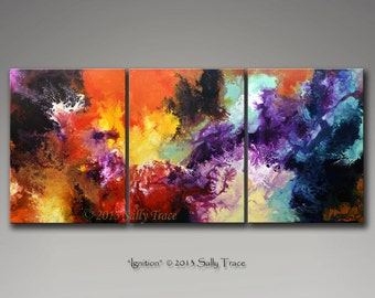 Large abstract art, canvas prints, three canvas triptych from my original abstract painting, Ignition, fluid expressionism
