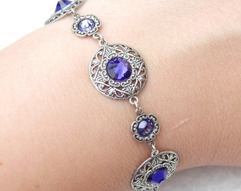 Circle Bracelet- Antiqued Silver and Swarovski Crystals (B-035)