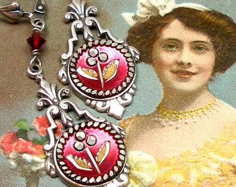 Antique BUTTON earrings, Victorian flowers in red on silver. OOAK one of a kind Antique button jewellery.