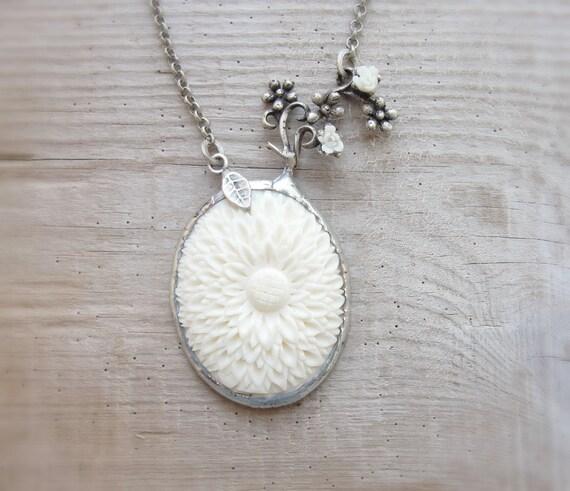 Carved Bone Necklace - Vintage Bone Flower Cameo