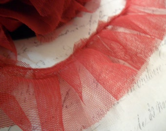 Ruby Red Box Pleated Tulle Ruffle 1.5 inches wide