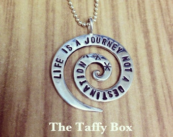 Life Is A Journey - hand stamped Sterling Silver spiral pendant necklace