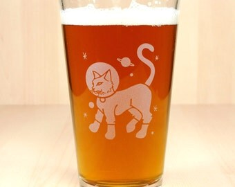 Astronaut Cat Beer Glass - sci fi kitty