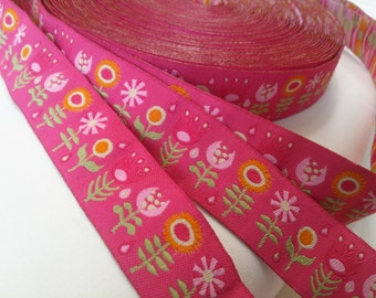Jessica Jones RIBBON - 7/8 Inch x 5 Yards - Retro Flowers - Pink