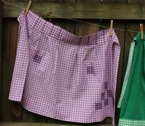 Vintage Half Apron - Purple and White Check Gingham with Cross Stitch Detail and Pockets M - XL