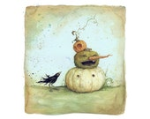 "Stack O' Lanterns - jack o' lantern art print, from an original painting by Leontine Greenberg (8.5"" x 11"")"