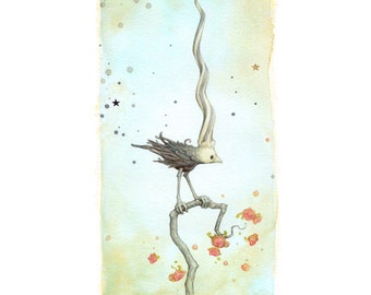 Unicorn Bird: Signed giclee print from an original watercolor painting by Leontine Greenberg.