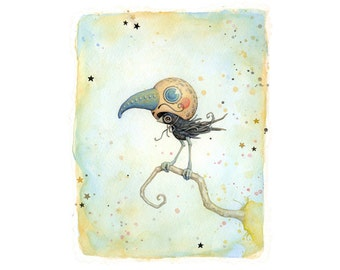 """Signed art print: """"Him"""". (A little bird in a dashing disguise) 8.5"""" x 11"""" signed giclee from an original painting"""