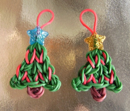 Two Christmas Tree Rubber Band Charms For Rainbow Loom