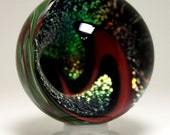 Handmade Contemporary Red Art Glass Vortex Marble Winterbower Collectible