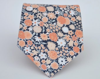 Coral Peach and Navy Floral Men's Necktie