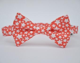 Coral Boy's Bow Tie Stars Toddler Bowtie Baby Tie