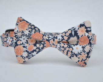Coral Peach and Navy Floral Bow Tie Boy's Bowtie