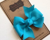 Hair Bow - Little Girl Hairbows - Small Misty Turquoise Pinwheel Bow - Misty Turquoise Bow
