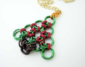 Chainmaille Christmas Tree Necklace Red Handmade