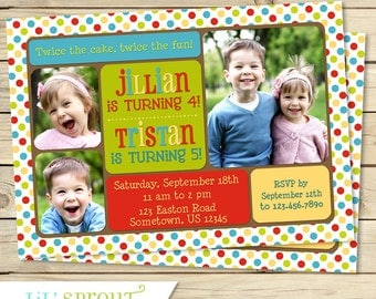 Joint Birthday Photo Invitation - Sibling Birthday Invitation - Dual Birthday - Shared Party - Boys or Girls of Any Age- Custom Colors