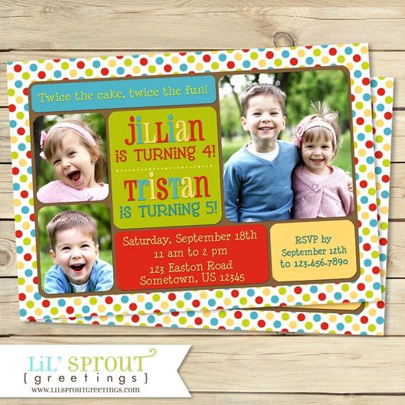 joint birthday photo invitation sibling birthday invitation dual