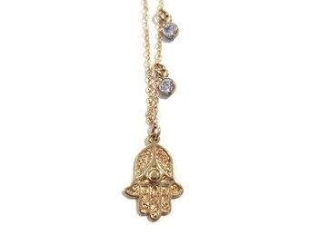 Gold hamsa necklace with cubic zirconia accents Perfect jewelry gift for mother's day!