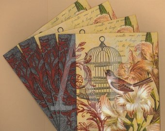 PN082 Set of 4 Paper Napkins by Hoffmaster ~ 5x5 or 6.5 x 6.5 or 4.5 x 8 Beautiful French Collage Birdcage Soiree Bird Lilies Fleur-De-Lis