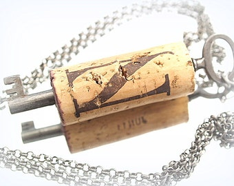 Inital N Cork & Key Wine Necklace Skeleton Key Wine Cork Necklace
