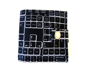 QWERTY ) Bifold Wallet With Snap (Plus Zipper) Black