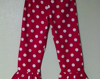 Red Polka Dot ruffle pants Toddler and Girls, s.2T, 3T, 4, 5, 6, ,7 , 8, 9, 10