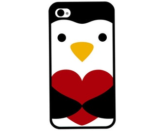 Phone Case - Heart Hugging Penguin - Hard Case for iPhone 4, 4s, 5, 5s, 5c, SE, 6, 6 Plus, 7, 7 Plus - iPod Touch 4, 5/6 - Galaxy