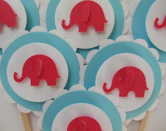 Elephant Cupcake Toppers - Red, Aqua and White - Birthday Decorations - Baby Shower Decorations - Set of 6