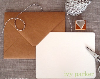 Custom Letterpress Note Cards - Set of 50 w/Kraft Envelopes - Pretty Design