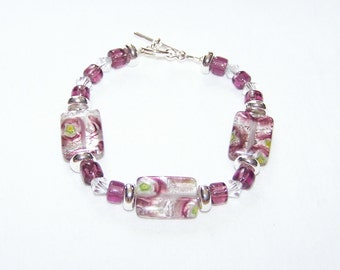 Bright and Shiny Purple and Silver Millefiori  Bracelet