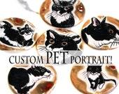 Custom Pet Portrait on a Ceramic Coaster YOUR PET on a ceramic tile!