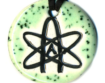Atheist Symbol Ceramic Necklace in Speckled Green