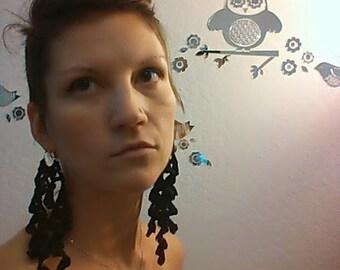 Custom Black Lace Earrings Solid 14k gold hoops with crochet long beautiful statement jewelry