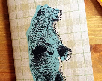 Bear Pocket Notebook, sketchbook, recycled journal, fathers day gift, graduation gift, animal lover, gift for mom, grandpa, nature