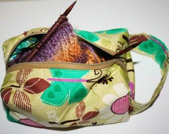 box bag - projects, knitting, cosmetics, make up, pencils, etc - nature