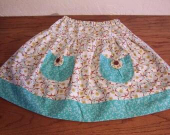 Girls Summer Skirt size 7 8 Retro Prints Pockets Free Shipping