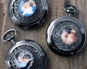 Three Groomsmen Gifts - Vintage Style Photo Pocket Watch, Set of 3 - Customized for Weddings, Fathers Day, Groomsmen, Dads, Best Man