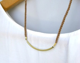 Cotton and Brass Bar Necklace