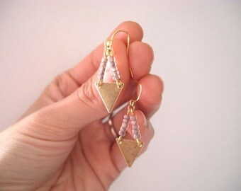 Brass Triangle Earrings - Taupe Beads