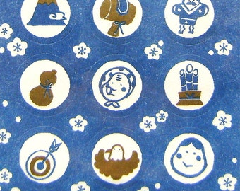 Japanese Stickers New Year Washi Paper (S261) Mount Fuji Kite Bamboo Blue Color