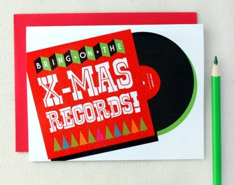 Christmas Cards - Bring on the Xmas Records Christmas Card Set of Ten by Oh Geez Design