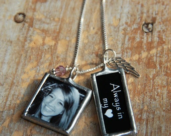 Angel Wing Custom Photo Necklace with Word Charm