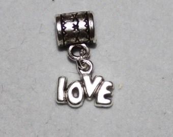 Silver 60s Style Love Affirmation Lrg Hole Bead Fits All European Add a Bead Charm Bracelet Jewelry Pnd-G133eb