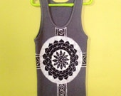 Mandala Yoga clothes tank top batik eco friendly hand painted & hand dyed - sacred geometry -  women vintage black