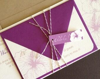 TWINE COLLECTION- Deposit, Vintage Hawaiian invitation, champagne and dark purple