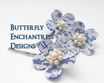 Lace Wedding, Bridal Hair Accessories, Rustic Wedding - 3 Burlap Lace Cherry Blossom Flower Bobby Pins - White Ivory Royal Blue